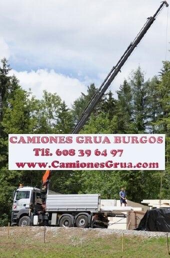 Servicios en obra de camión grúa en Burgos